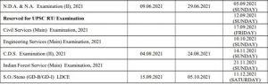 UPSC 2021 Exam calendar